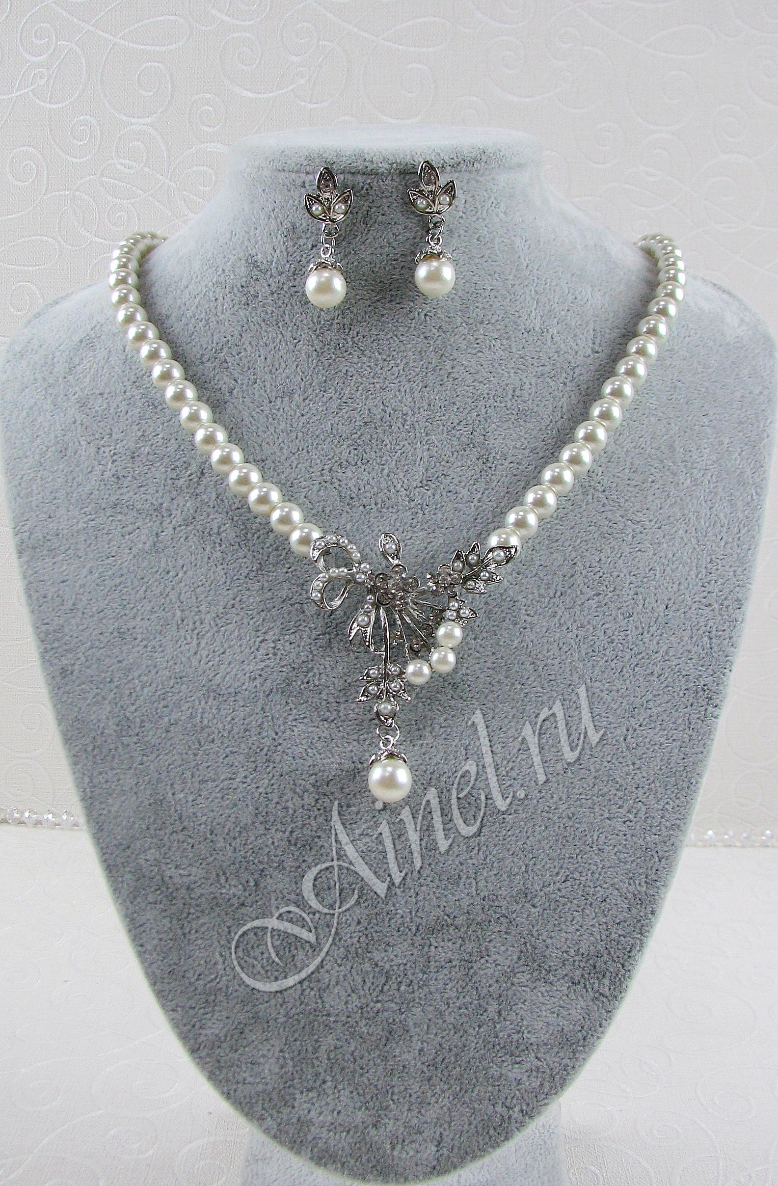 Свадебное украшение для невесты бижутерия №76 с жемчугом под серебро