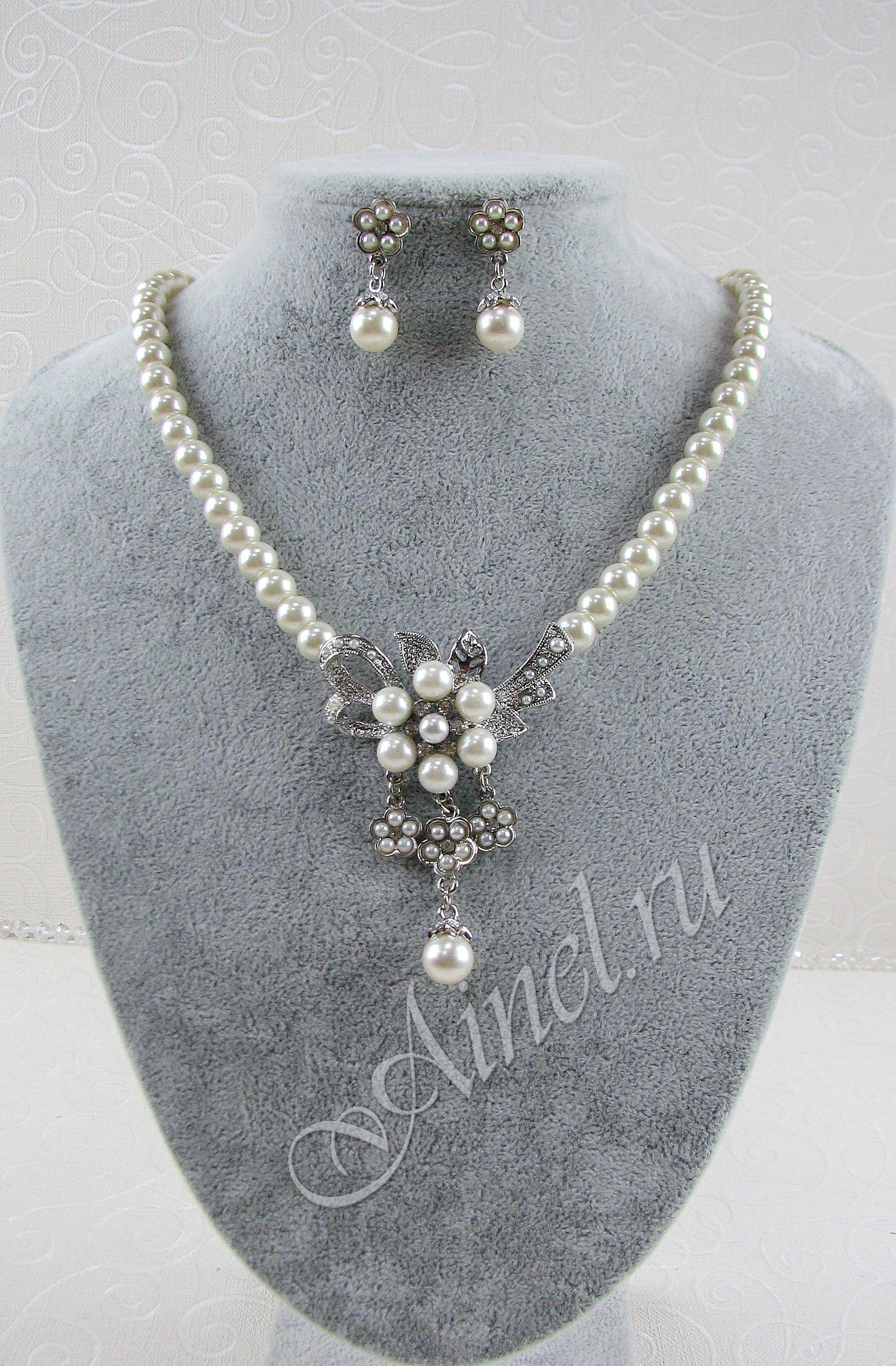 Свадебное украшение для невесты бижутерия №77 с жемчугом под серебро