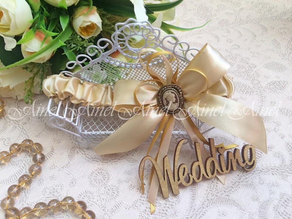 """Подвязка невесты свадебная """"Камея золото"""" узкая"""