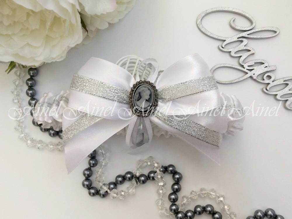 """Подвязка невесты свадебная """"Камея серебро"""""""