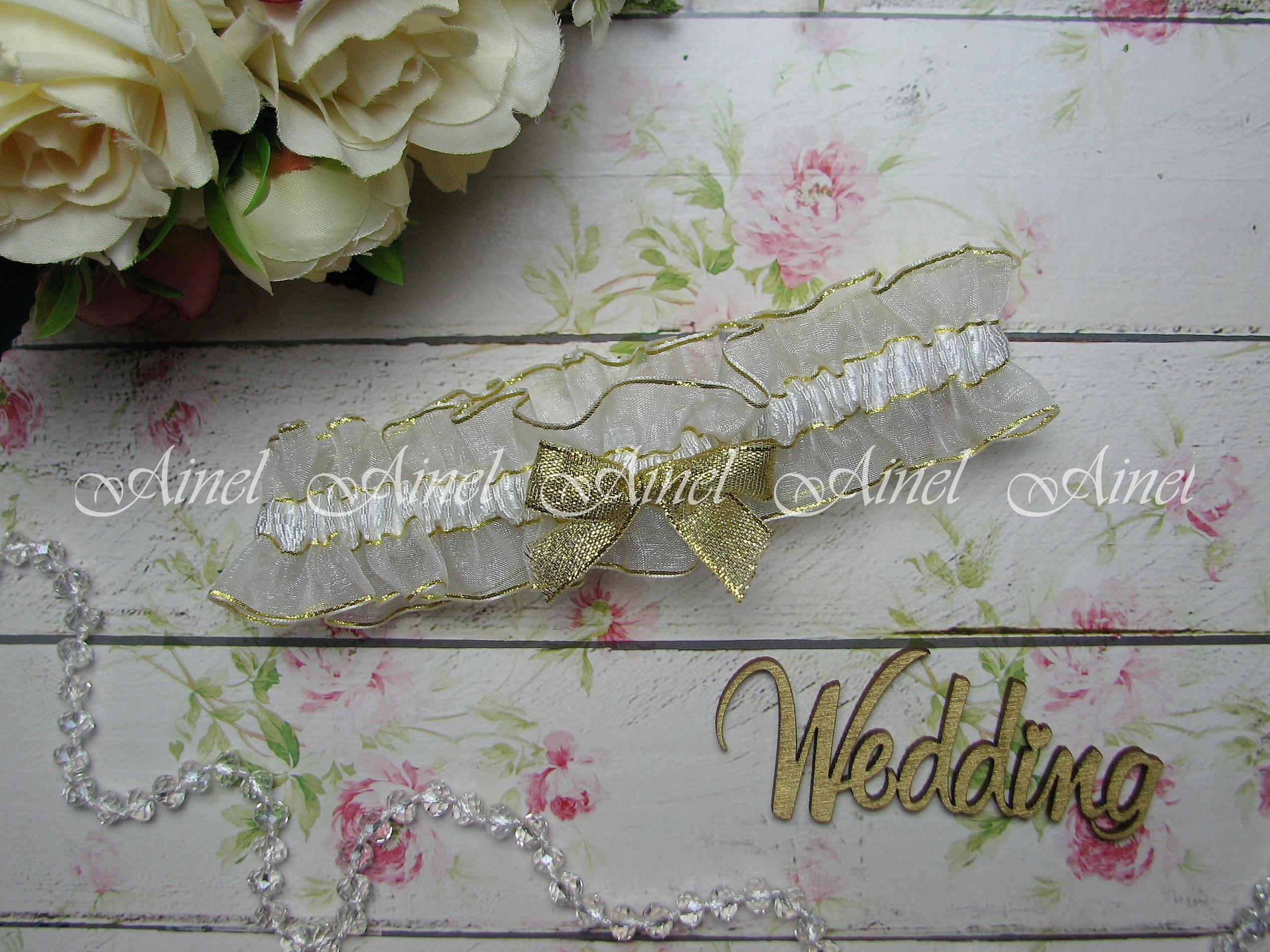 """Подвязка невесты свадебная """"Жанин"""" золотая"""