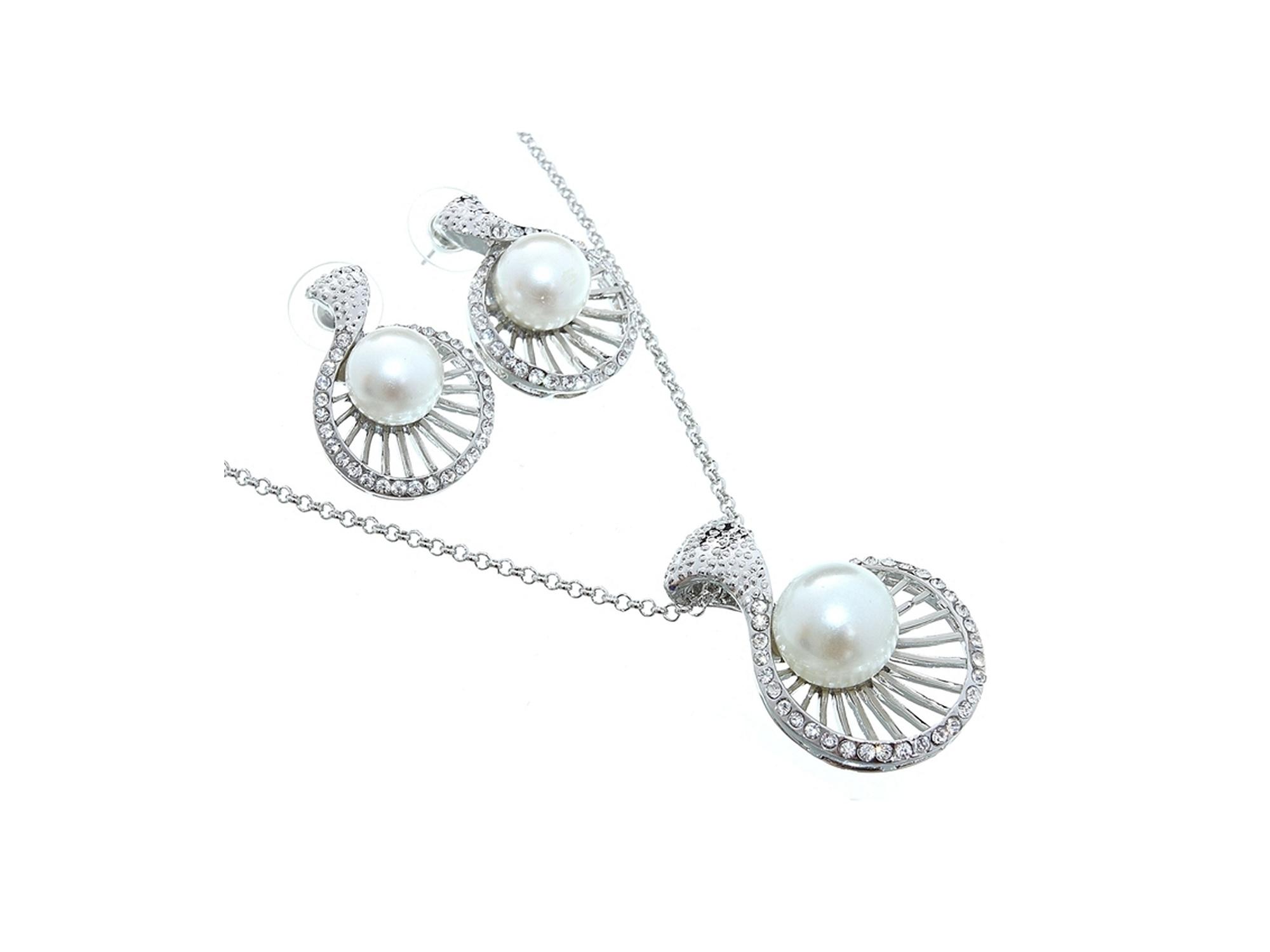 Свадебное украшение для невесты бижутерия №86 с жемчугом под серебро