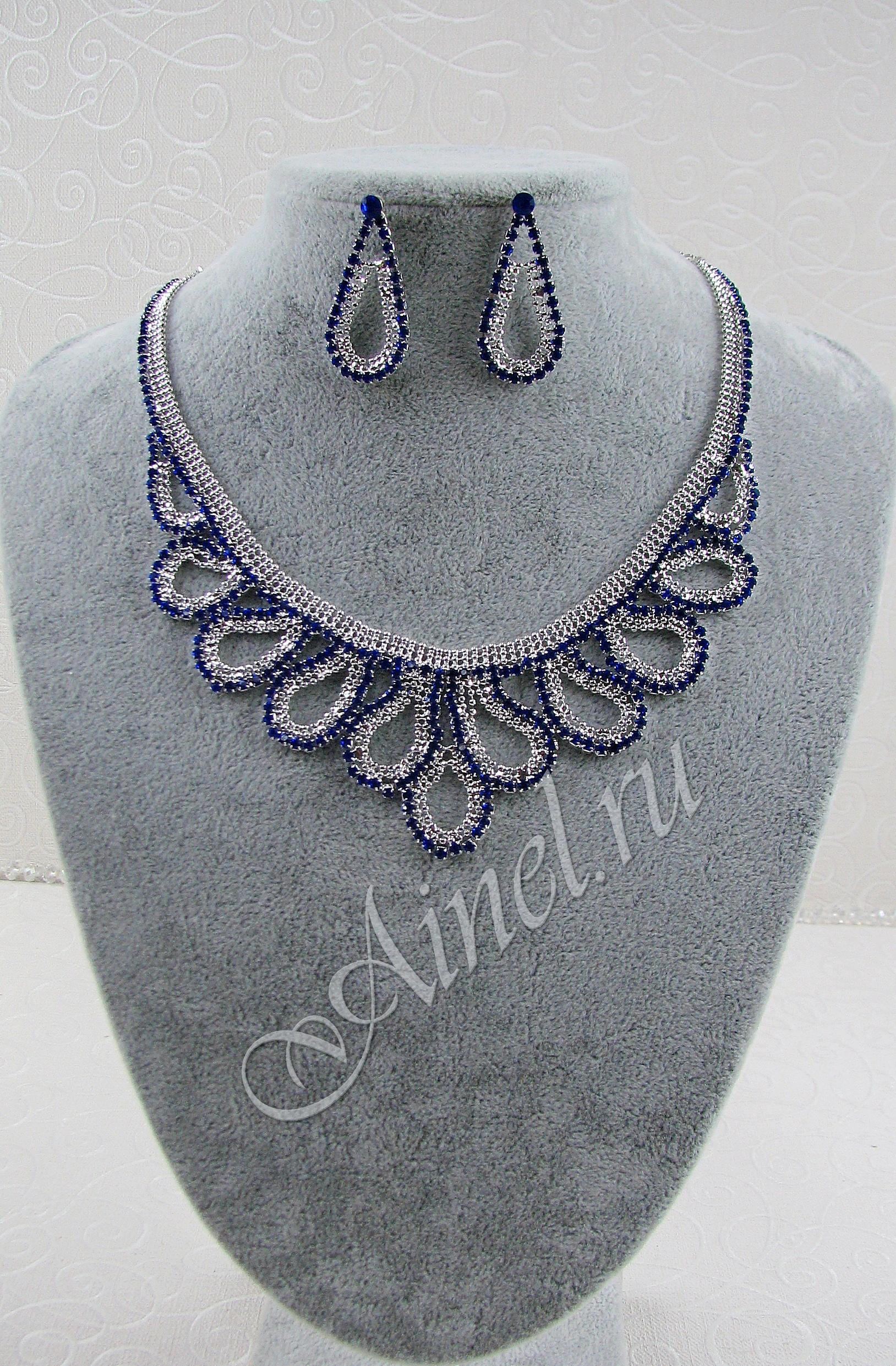 Свадебное украшение для невесты бижутерия №82 стразами под серебро