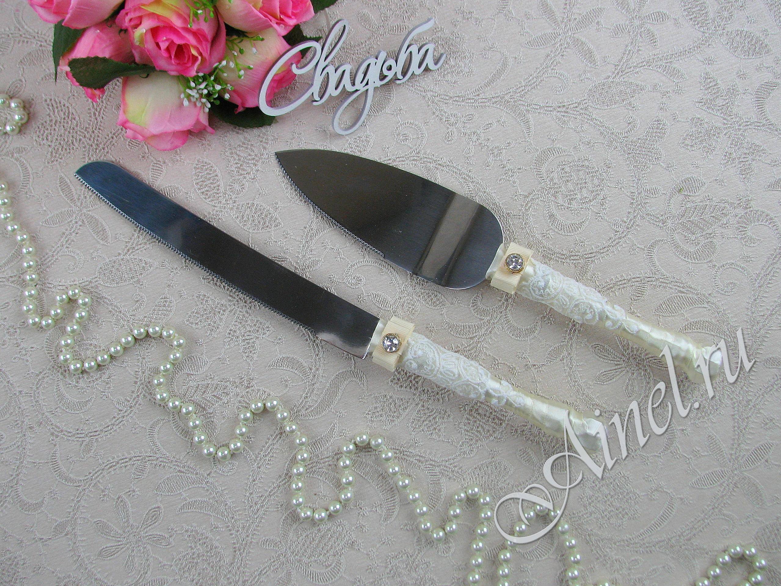 """Приборы для свадебного торта нож и лопатка """"Венеция"""""""