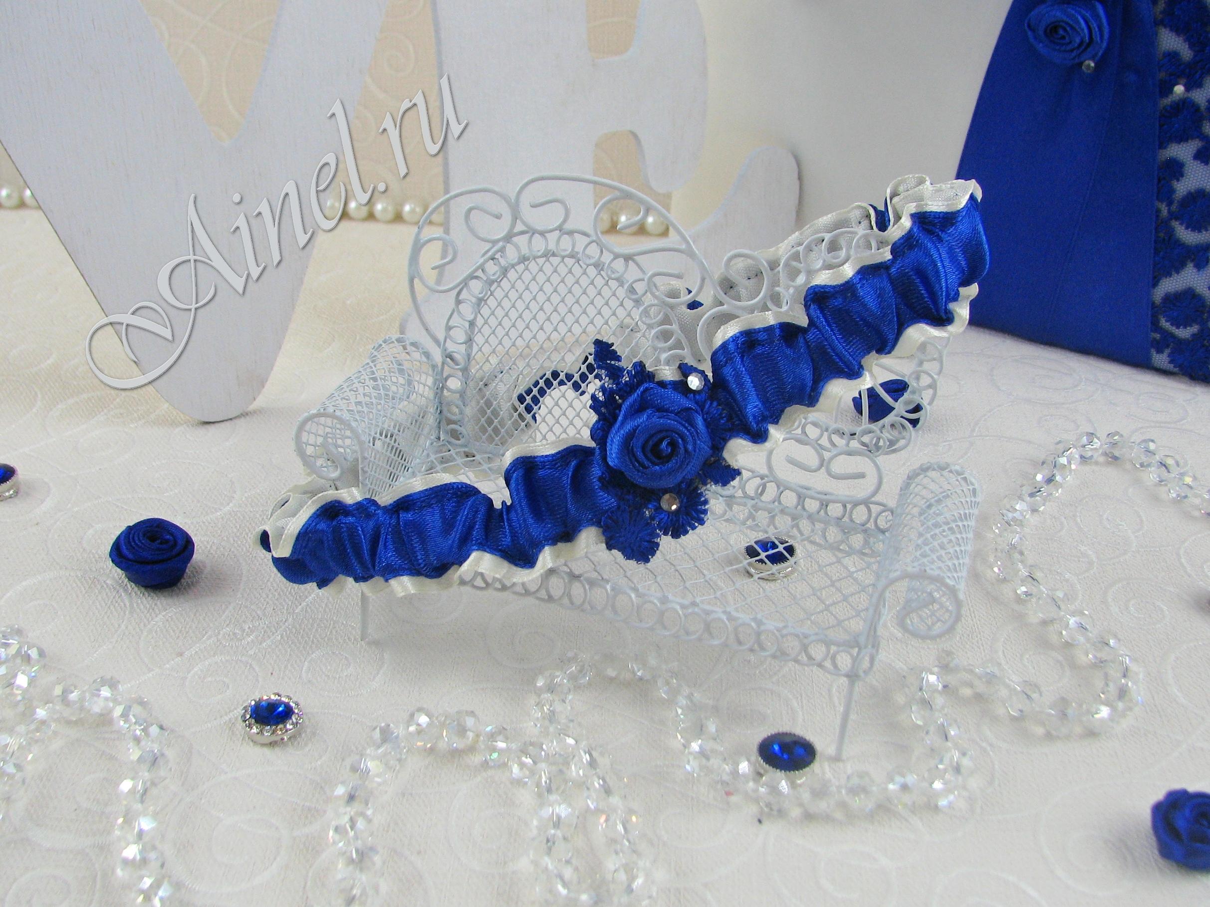 """Подвязка невесты свадебная """"Индиго"""" узкая"""