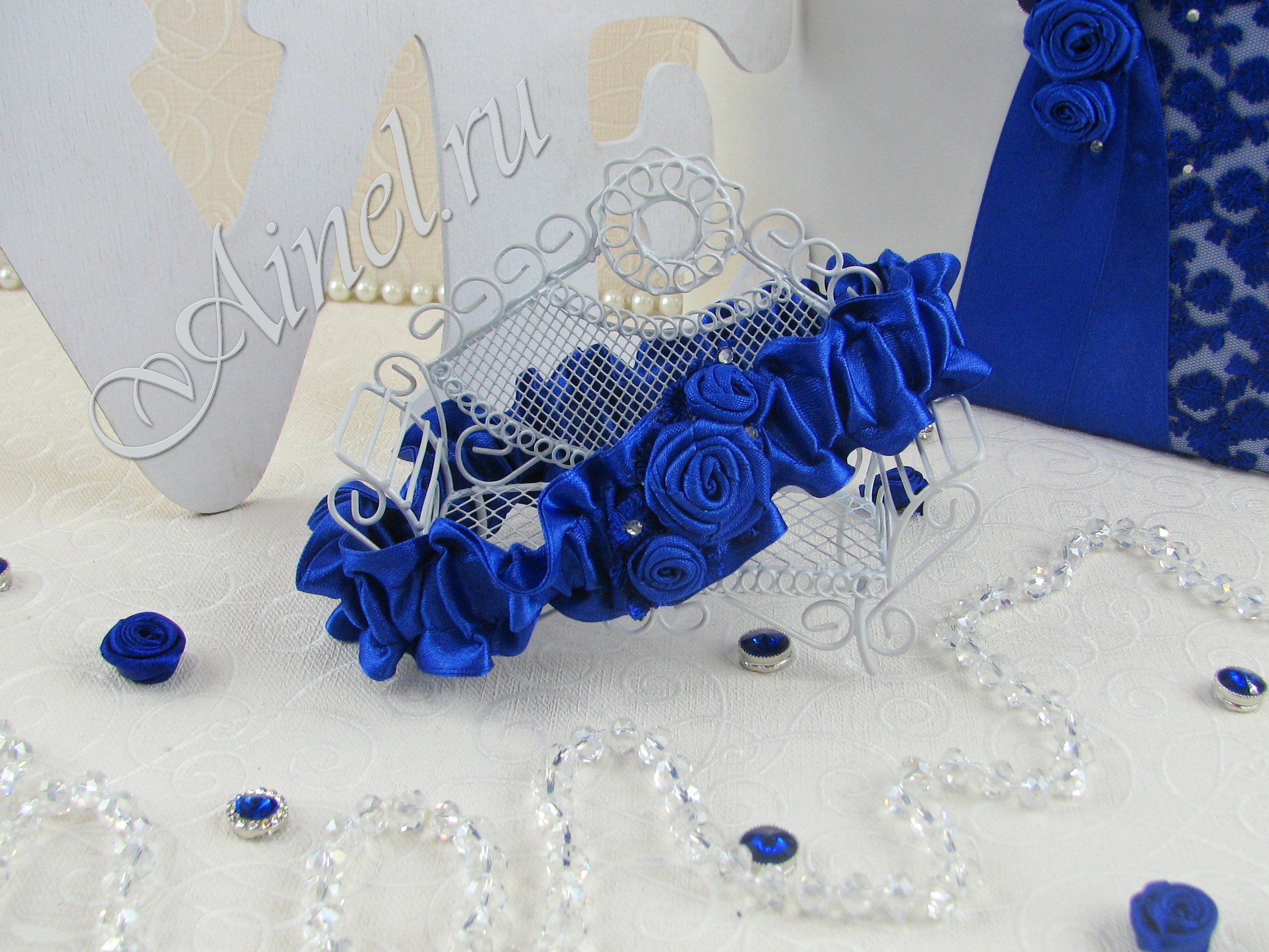 """Подвязка невесты свадебная """"Индиго"""" широкая"""