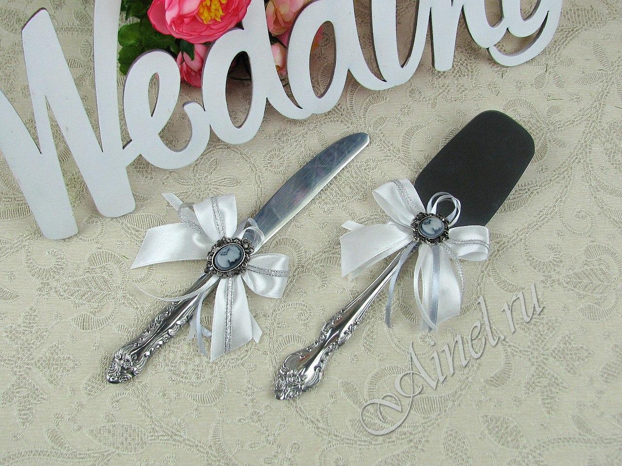 """Приборы для свадебного торта нож и лопатка """"Камея серебро"""""""