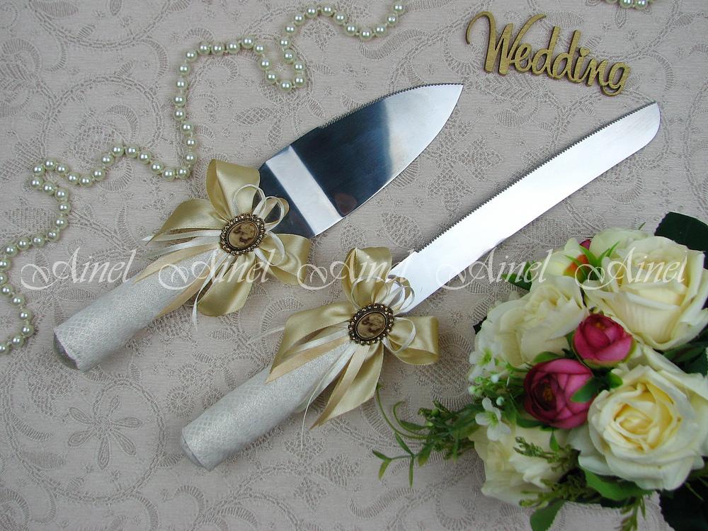 """Приборы для свадебного торта нож и лопатка """"Камея золото"""""""