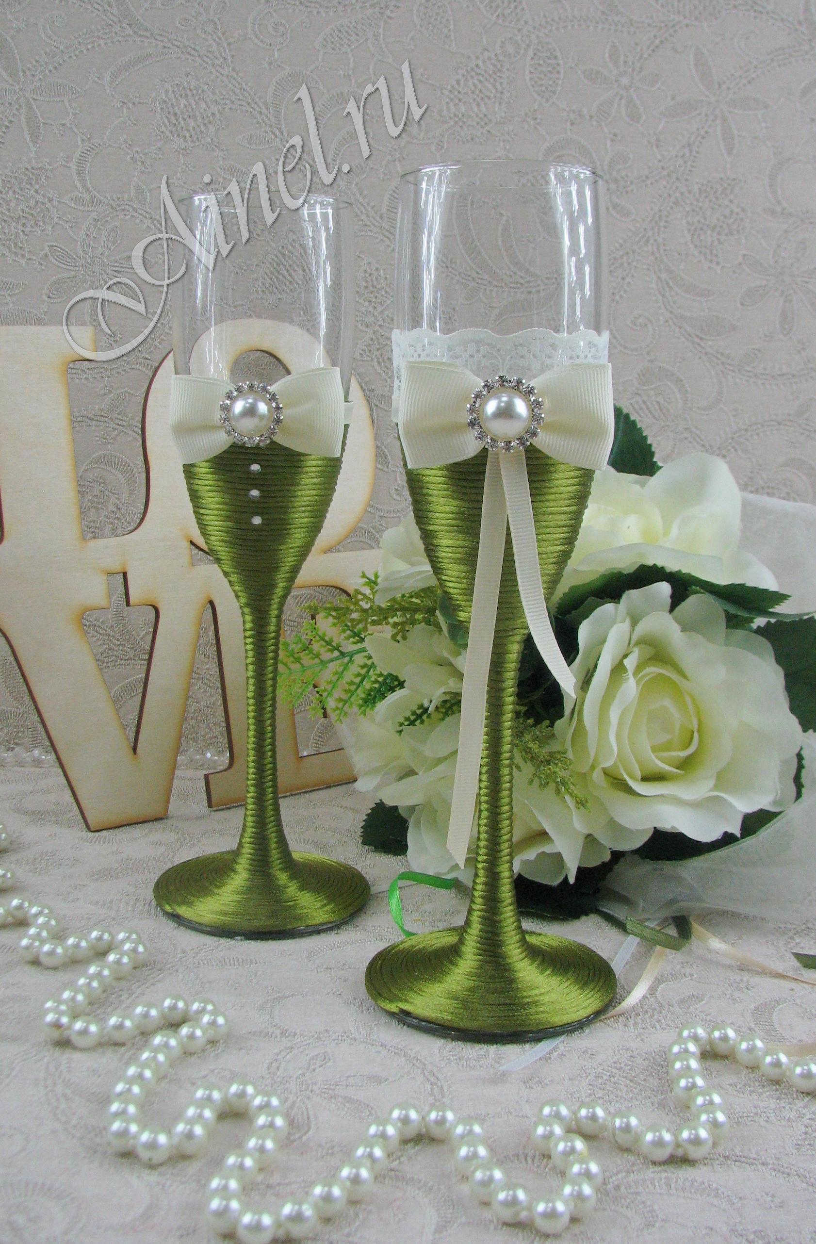 Бокалы свадебные для молодоженов №18 зеленые