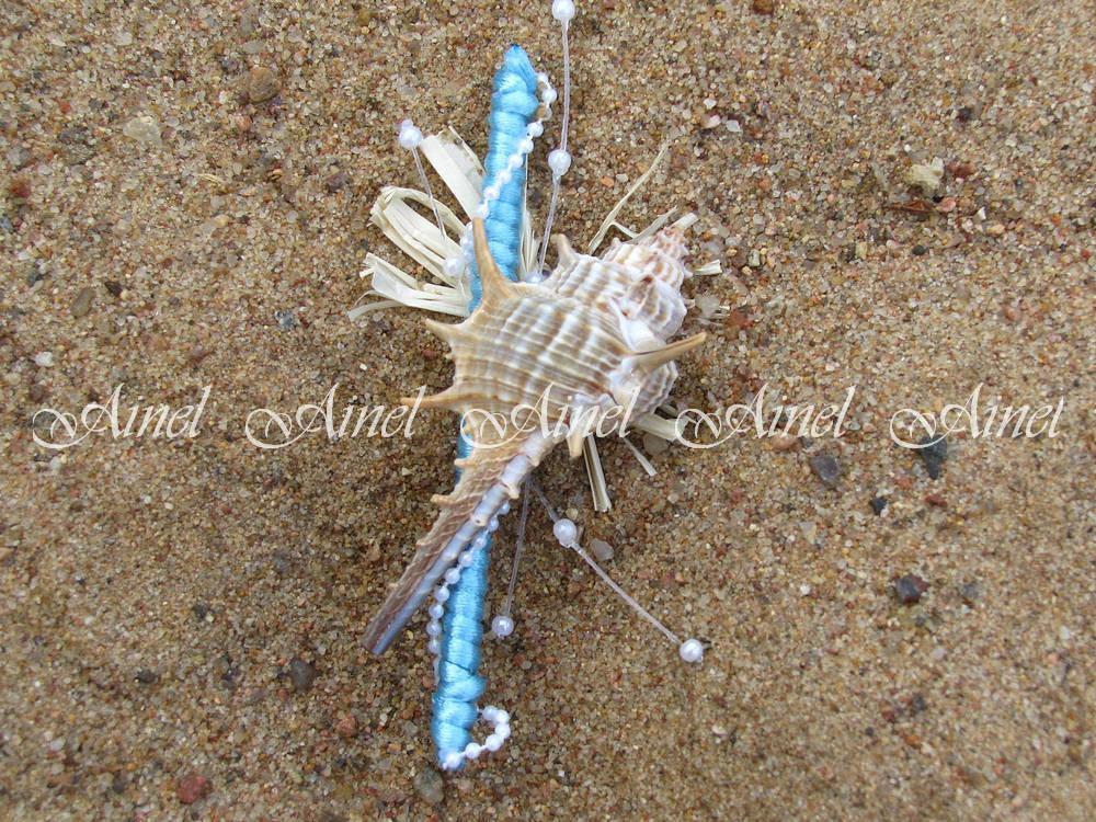 Бутоньерка свадебная для жениха и свидетеля №13 морская на голубой ножке