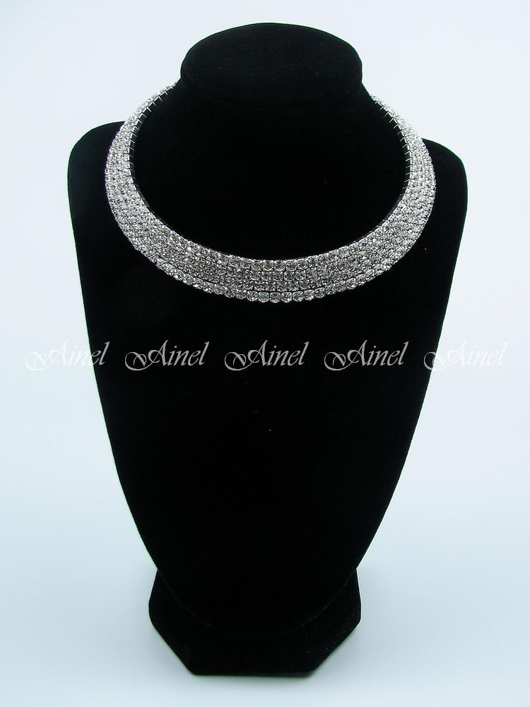 Свадебное украшение для невесты бижутерия №3523 со стразами под серебро