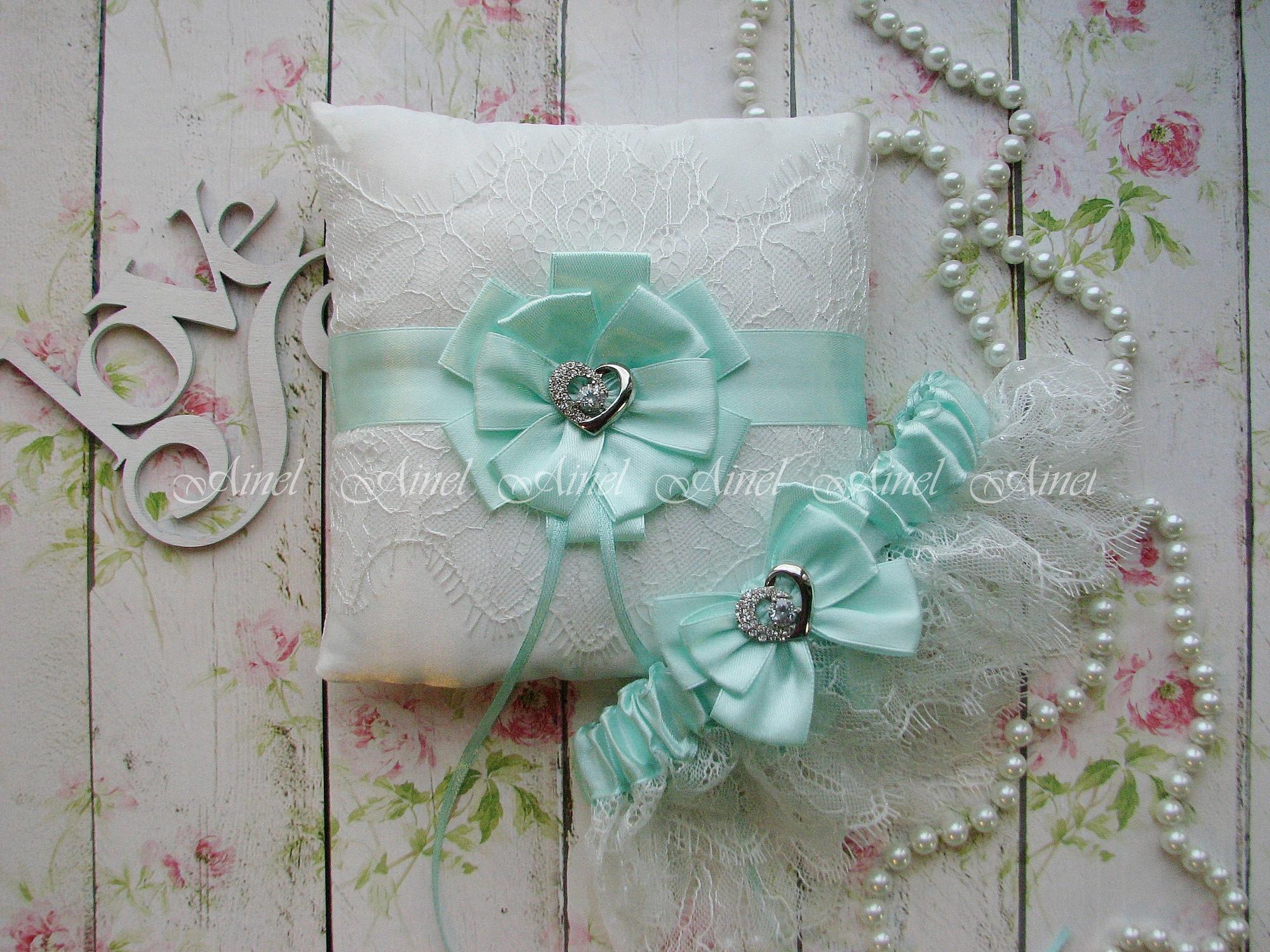 """Подвязка невесты свадебная и подушечка для колец """"Марго"""" кружевная мятная"""