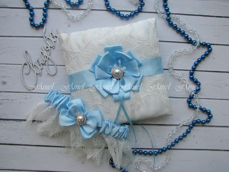 """Подвязка невесты свадебная и подушечка для колец """"Марго"""" кружевная голубая"""