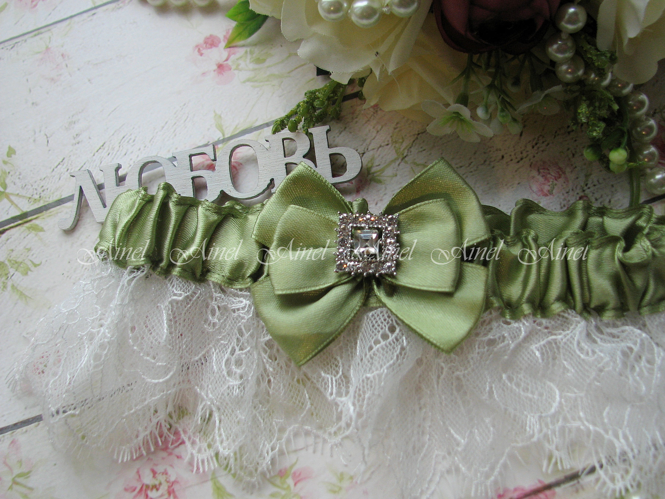 """Подвязка невесты свадебная """"Марго"""" кружевная зеленая"""