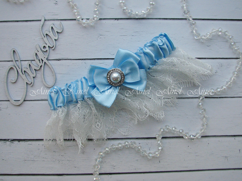 """Подвязка невесты свадебная """"Марго"""" голубая"""