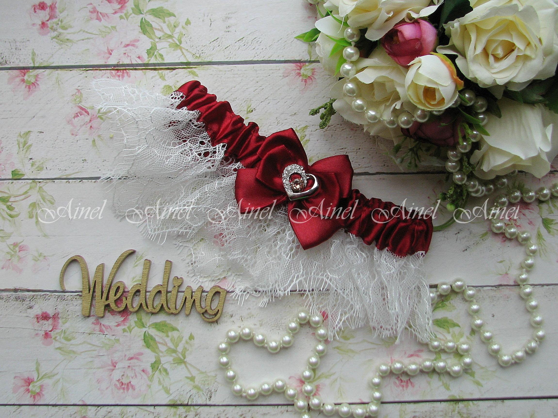 """Подвязка невесты свадебная """"Марго"""" бордовая"""