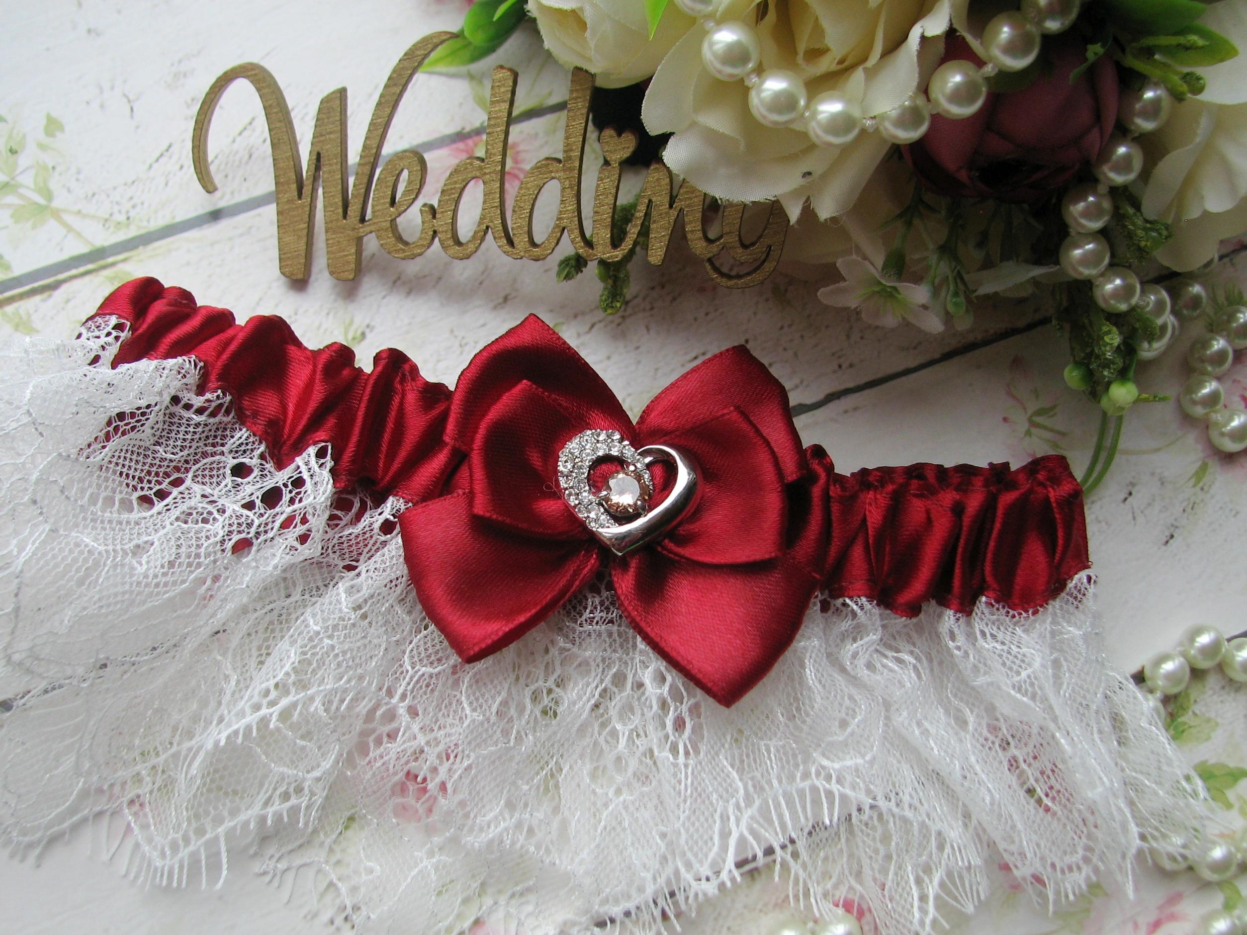 """Подвязка невесты свадебная """"Марго"""" кружевная бордовая"""