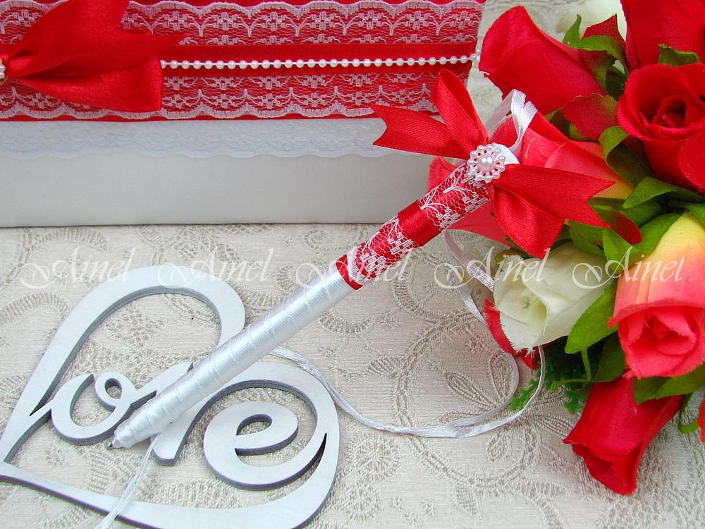 """Свадебная ручка """"Маркиза"""" красная"""