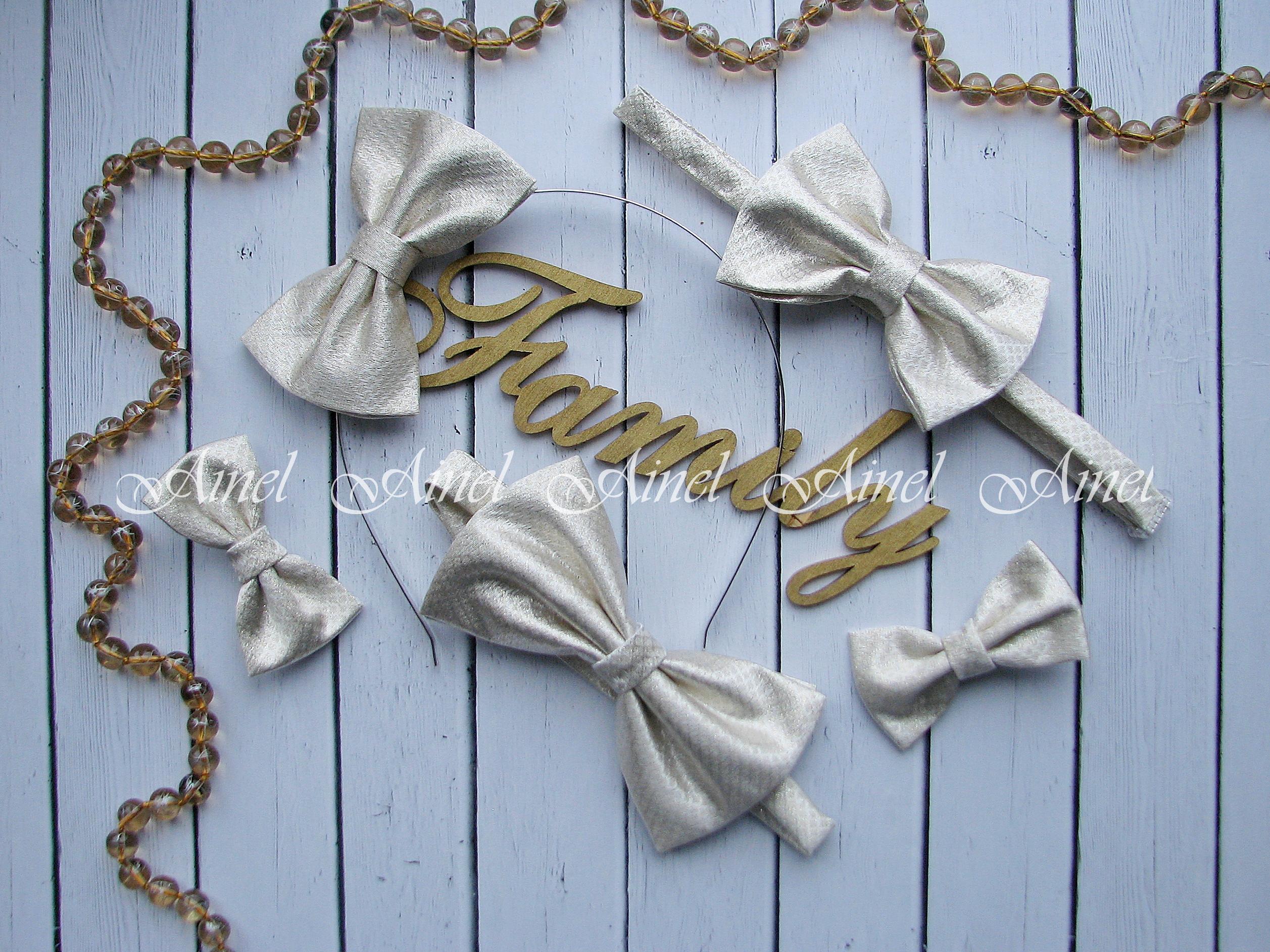 Аксессуары для семейной фотосессии Family Look №14 бабочки золото парча