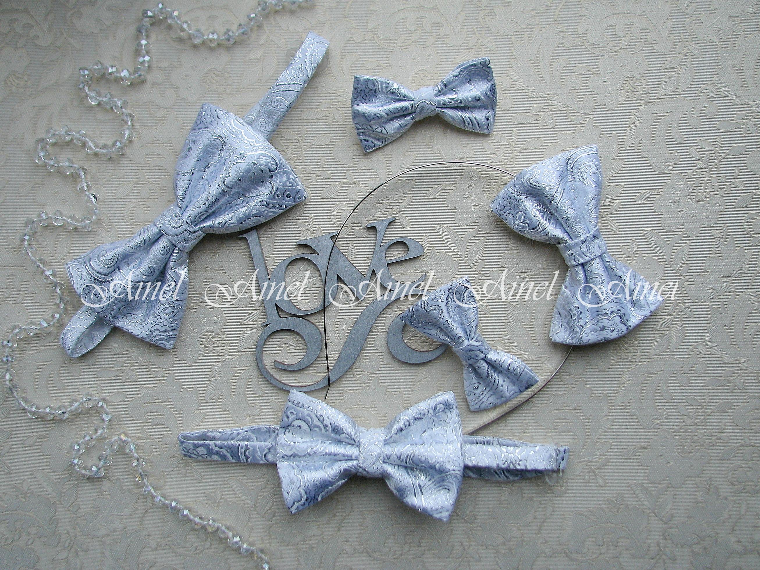 Аксессуары для семейной фотосессии Family Look №13 бабочки серебро парча