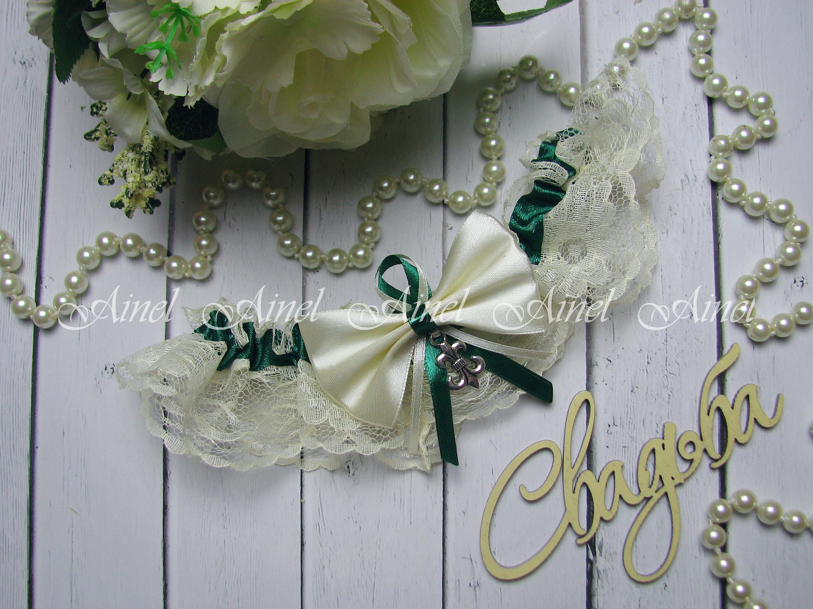"""Подвязка невесты свадебная """"Амели"""" изумрудная"""