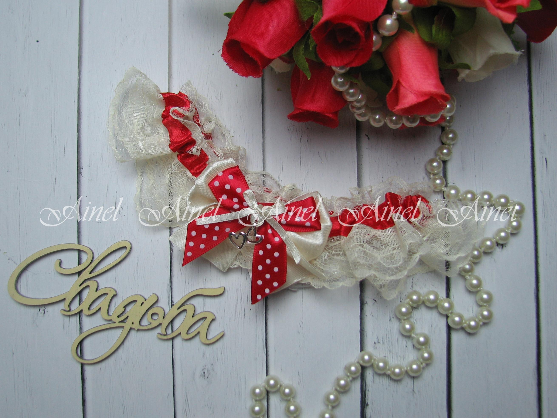 """Подвязка невесты свадебная """"Амели"""" красная"""