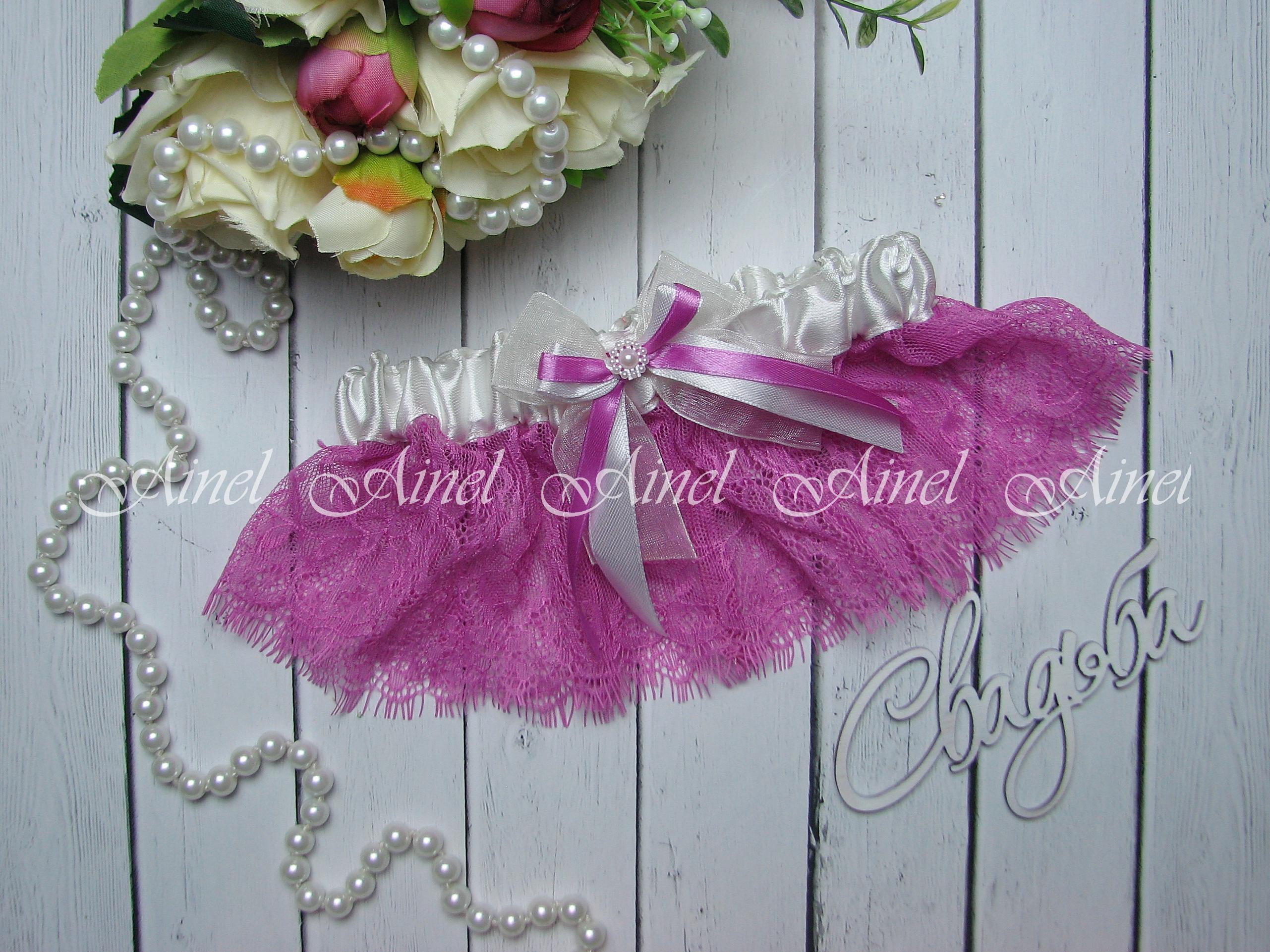 """Подвязка невесты свадебная """"Шанти"""" розовая с белым"""