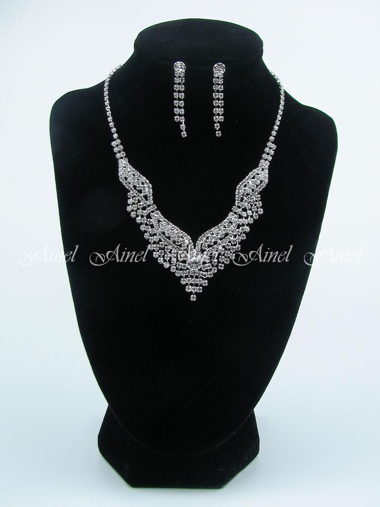 Свадебное украшение для невесты бижутерия №3964 со стразами под серебро