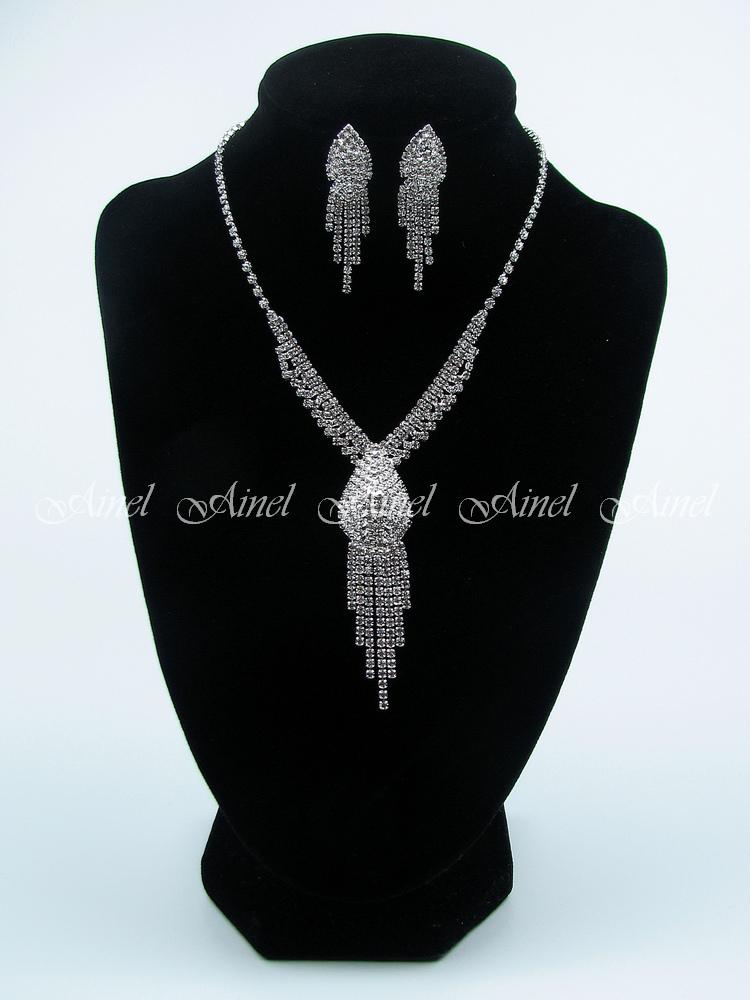 Свадебное украшение для невесты бижутерия №3965 со стразами под серебро