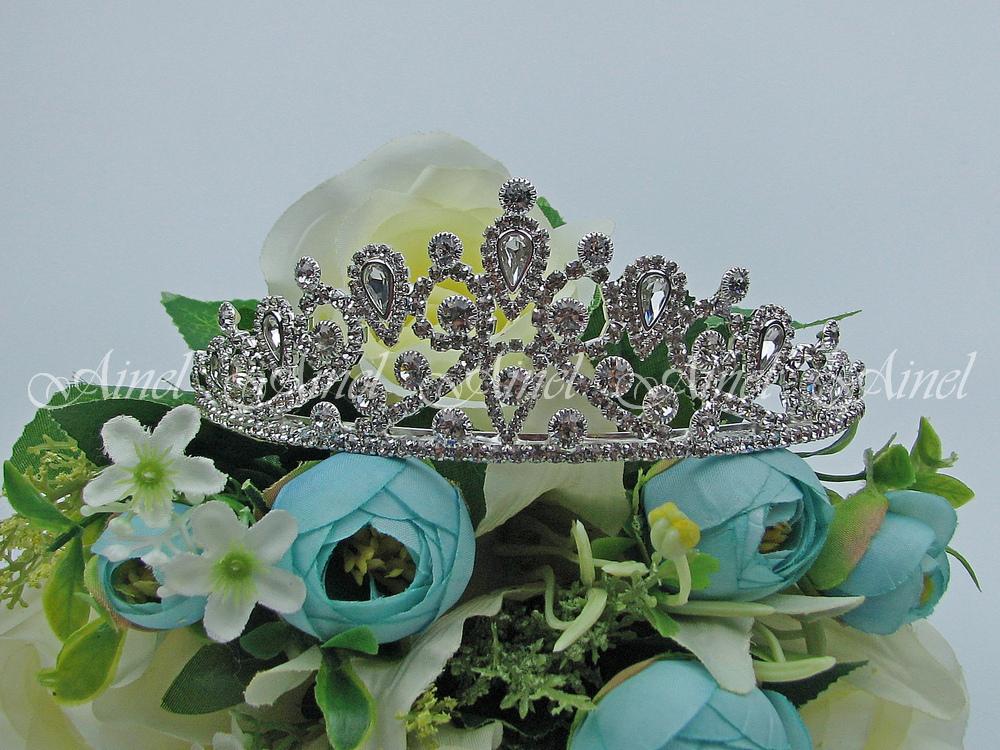 Диадема на свадьбу  №3979 под серебро со стразами