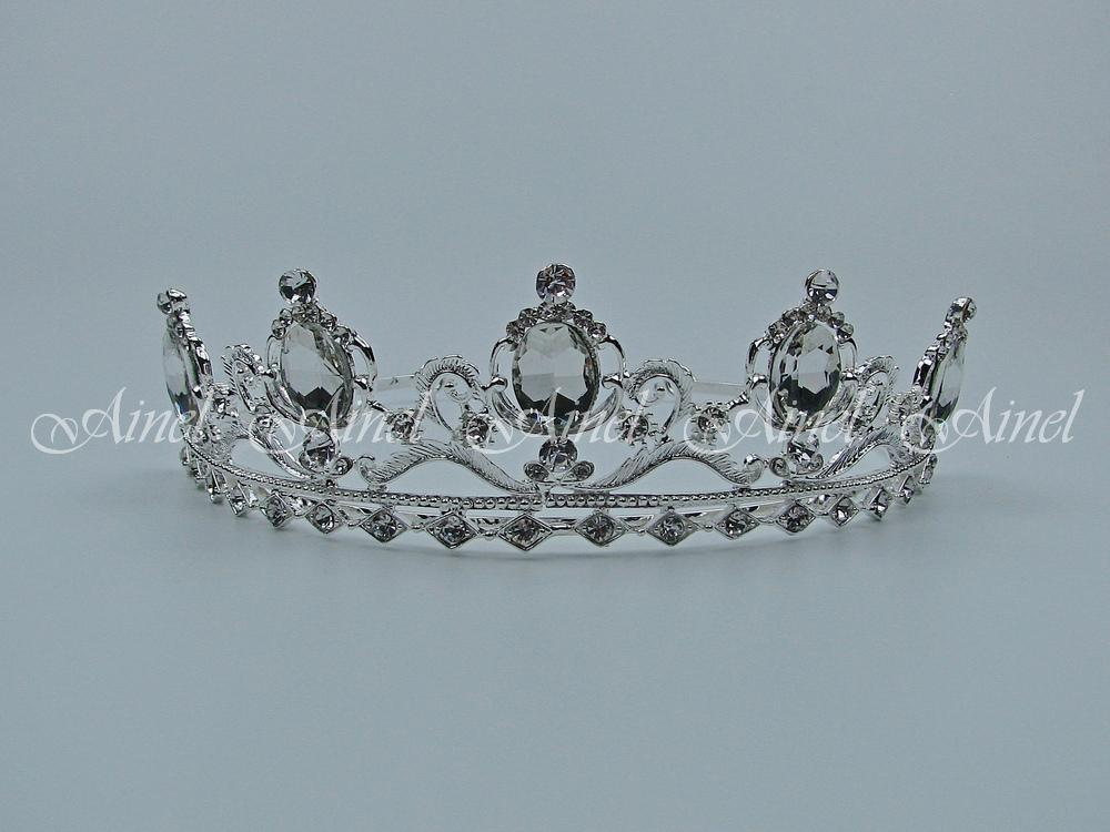 Свадебная диадема для невесты №3981 под серебро со стразами