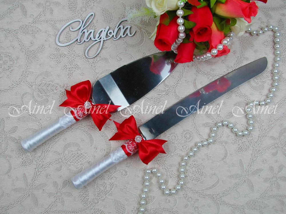 """Приборы для свадебного торта нож и лопатка """"Маркиза"""" красная"""