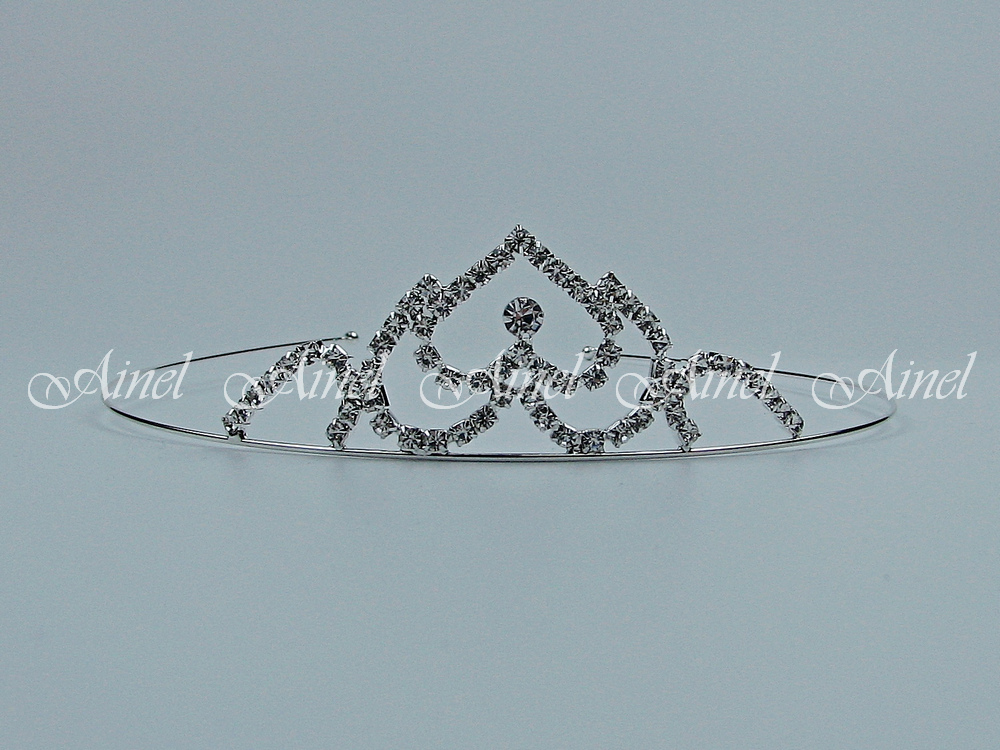 Свадебная диадема для невесты №4051 под серебро со стразами