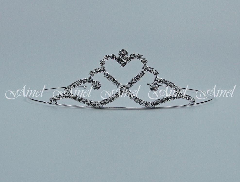 Свадебная диадема для невесты №4053 под серебро со стразами