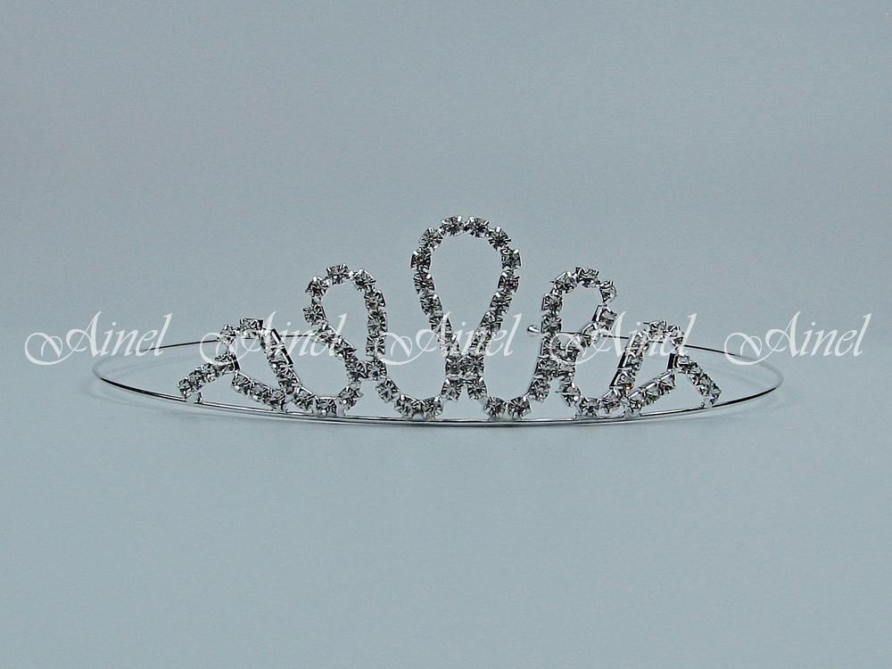 Свадебная диадема для невесты №4054 под серебро со стразами