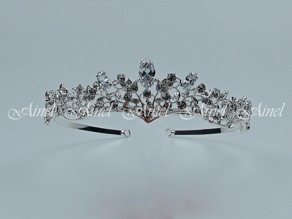 Свадебная диадема для невесты №4057 под серебро со стразами