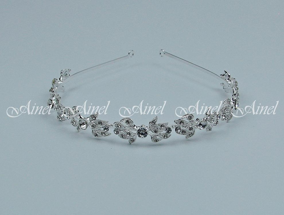 Диадема на свадьбу  №4060 под серебро со стразами