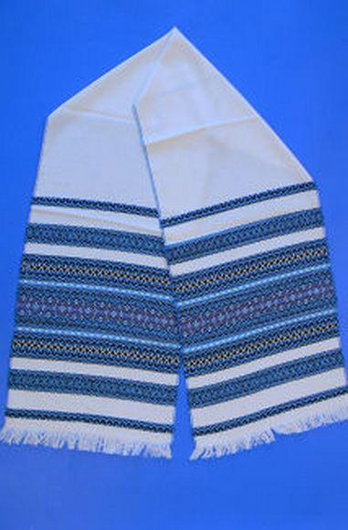 """Свадебный рушник для каравая """"Льняной"""" синий орнамент"""