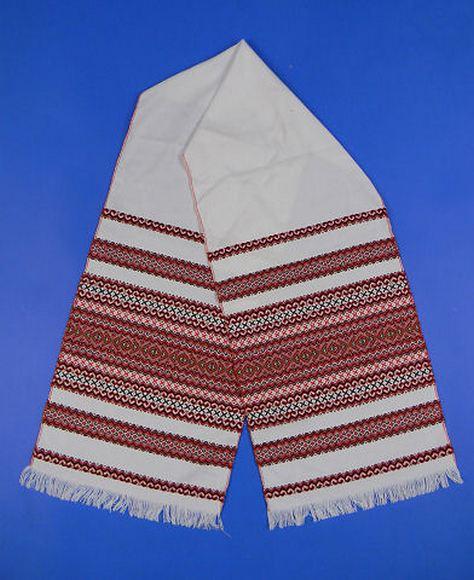 """Свадебный рушник для каравая """"Льняной"""" красный орнамент"""