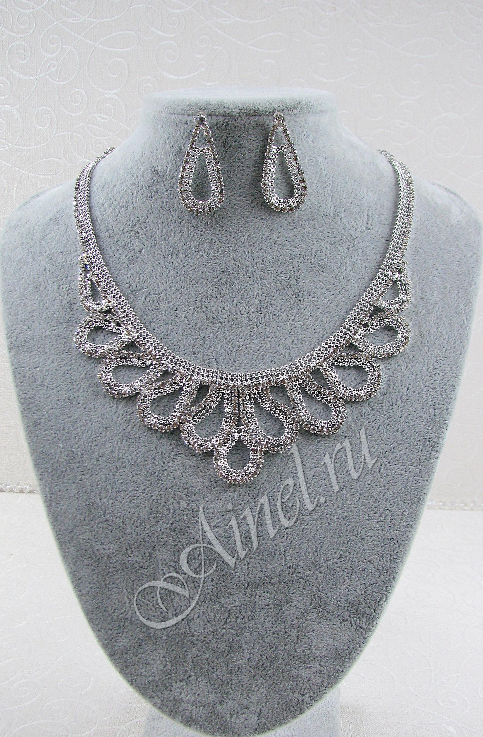 Свадебное украшение для невесты бижутерия №81 стразами под серебро