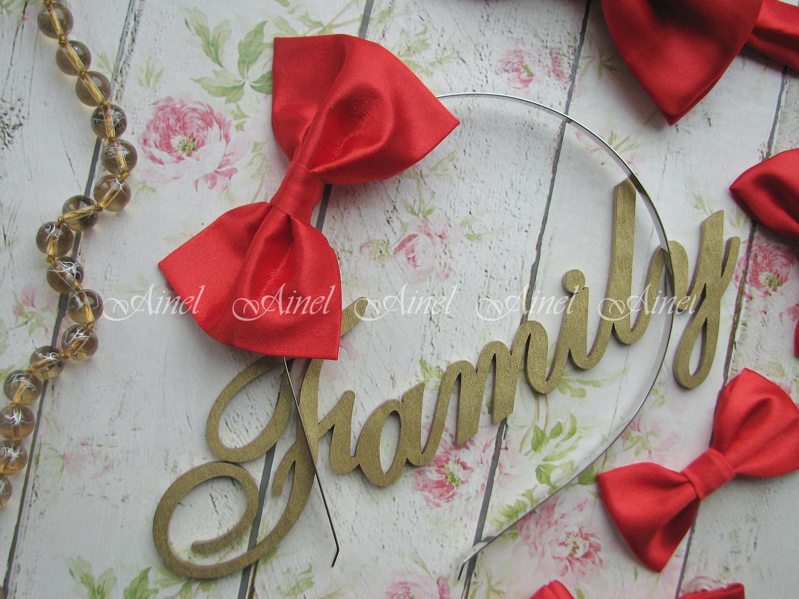 Бабочка на обруче для семейной фотосессии Family Look  №1 бабочки красные