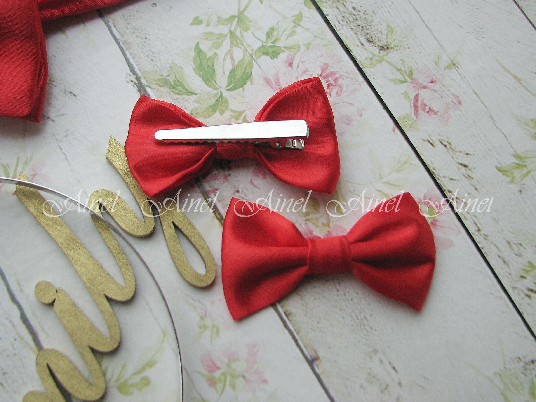 Бабочка-заколка для семейной фотосессии Family Look  №1 бабочки красные