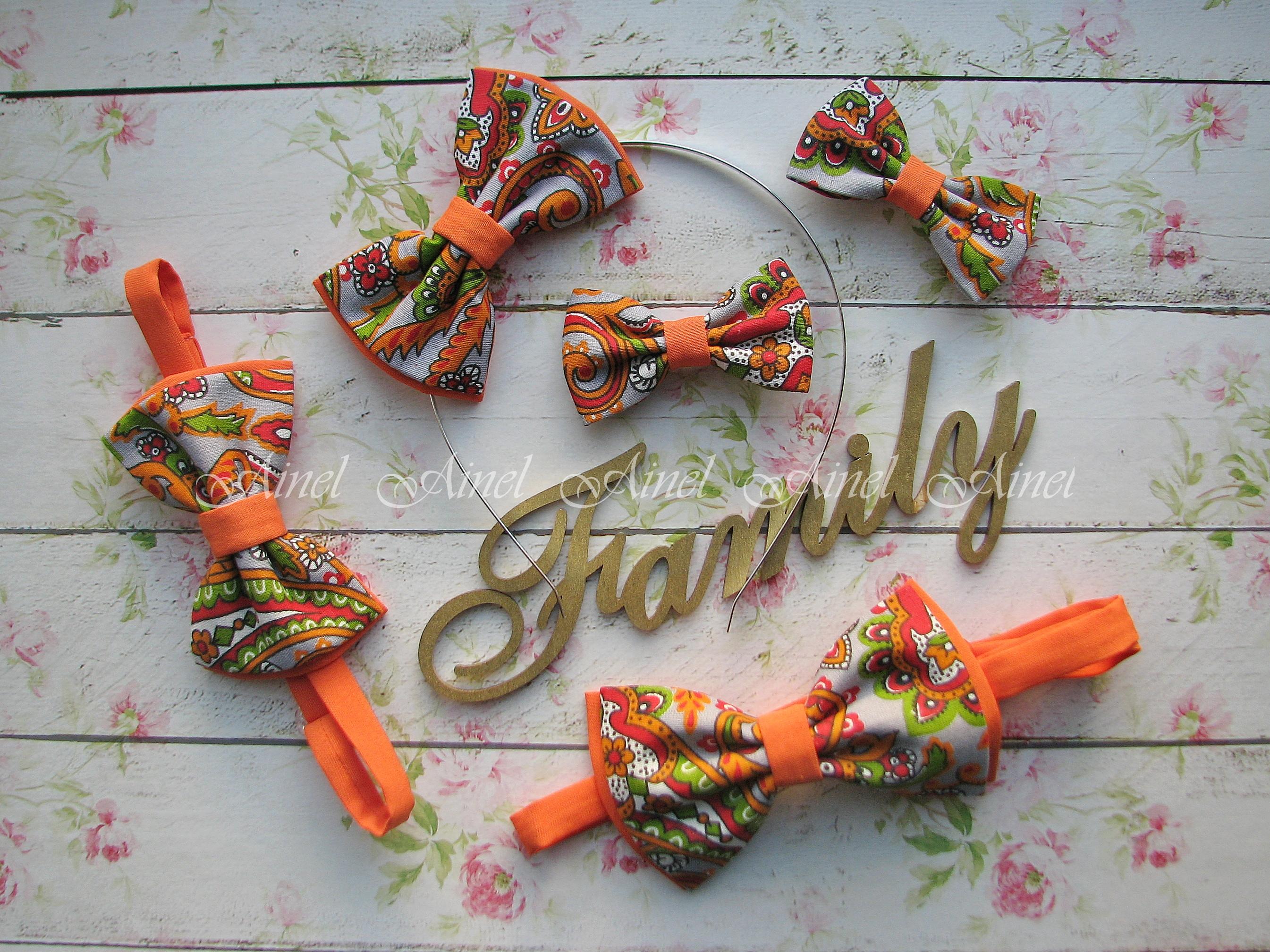 Аксессуары для семейной фотосессии Family Look №10 бабочки оранжевые
