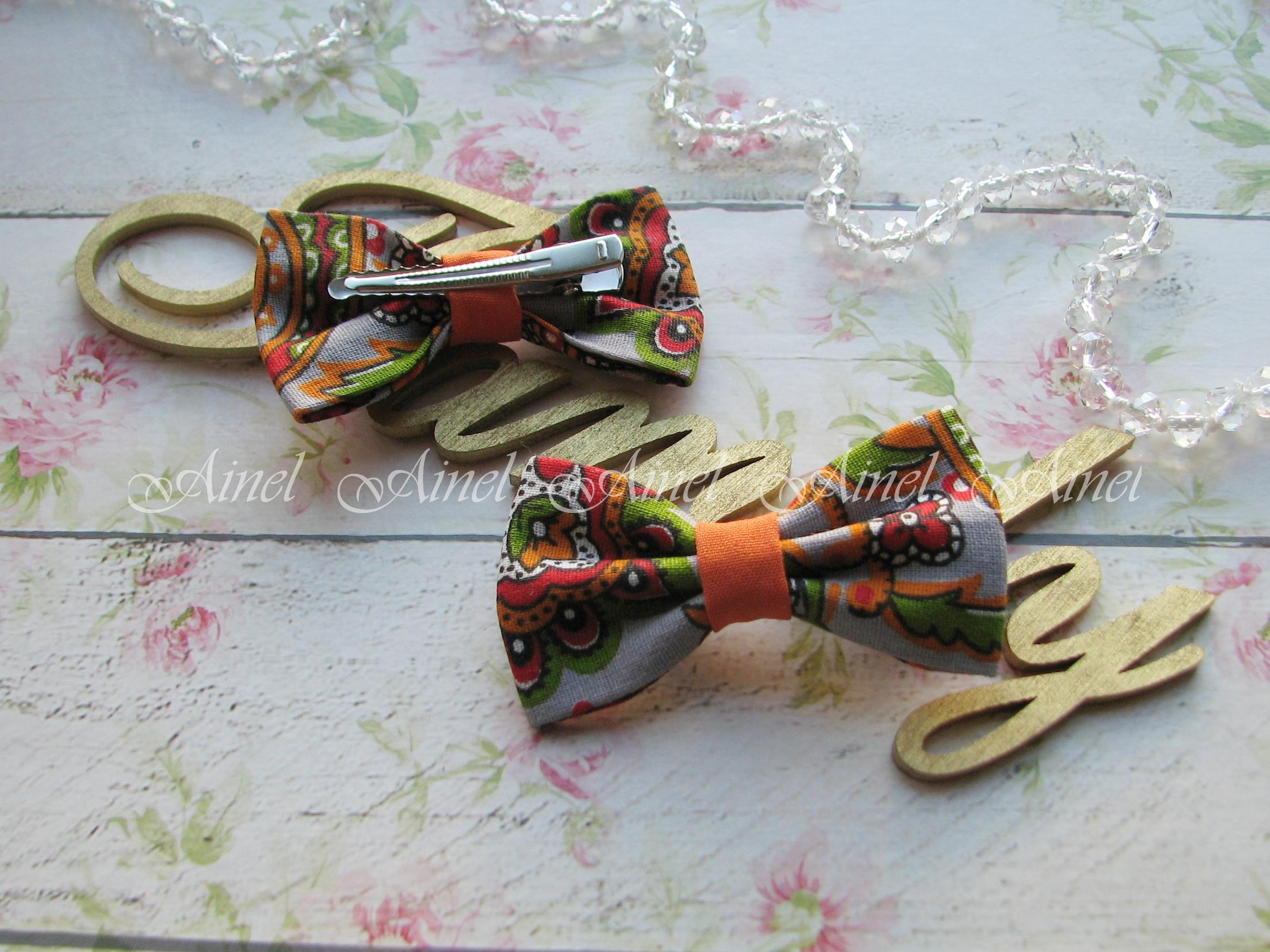 Бабочка-заколка для семейной фотосессии Family Look  №10 бабочки оранжевые