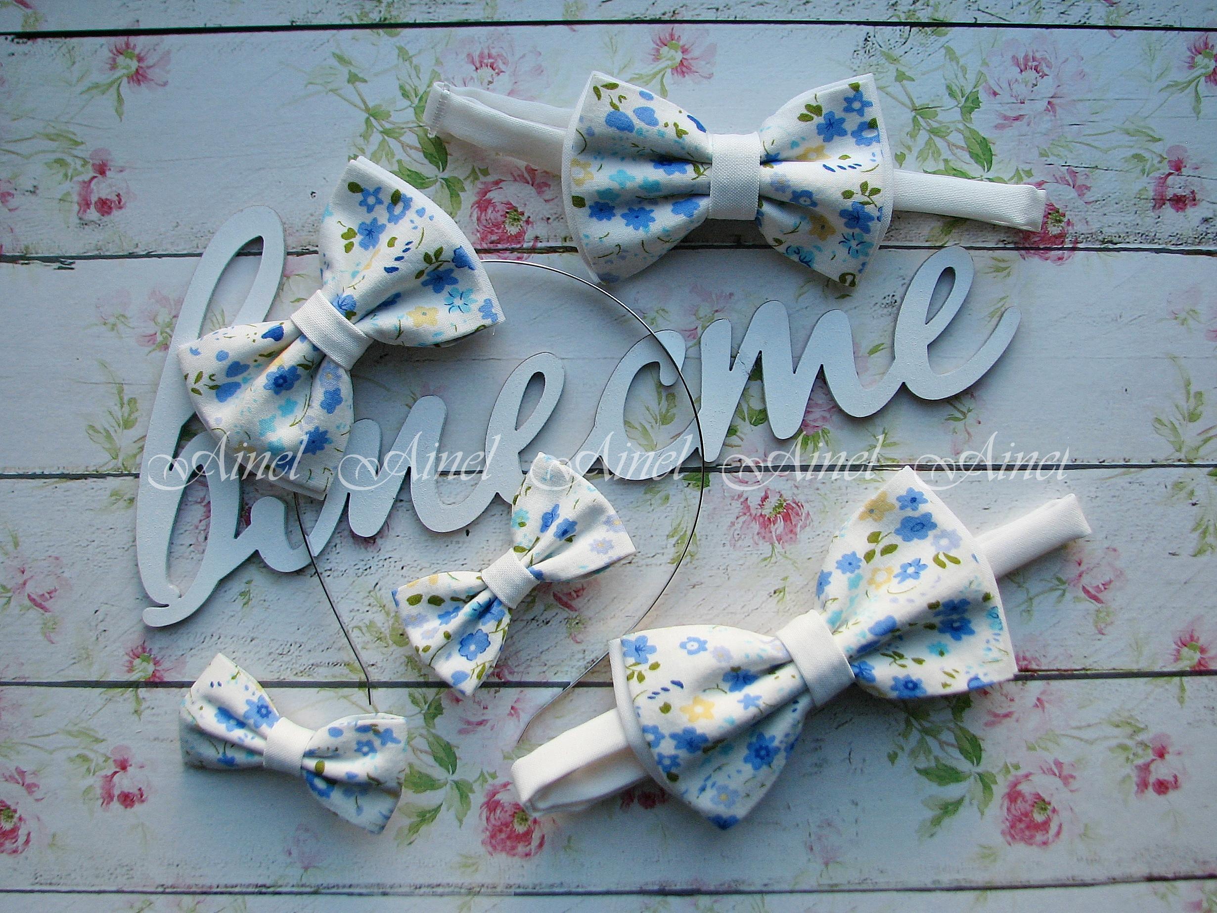 Аксессуары для семейной фотосессии Family Look №9 бабочки синие цветы