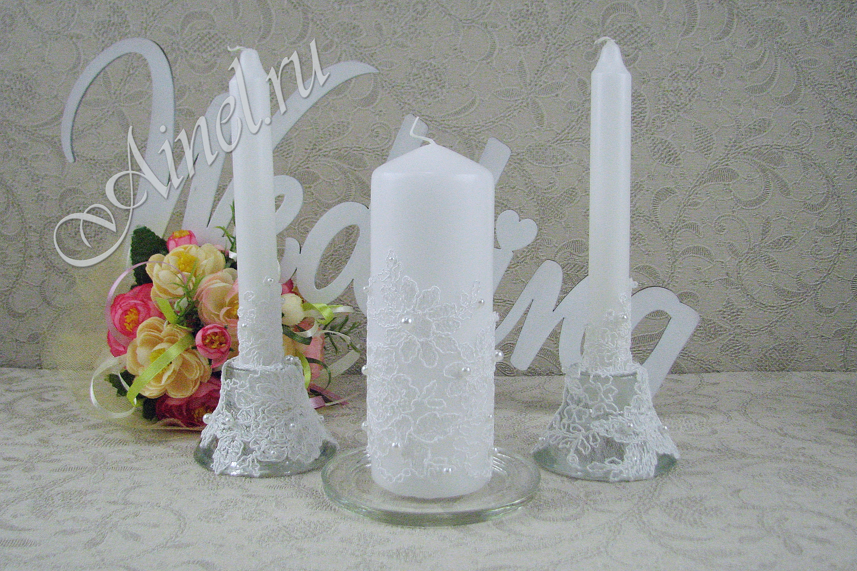 """Свадебные свечи семейный очаг """"Неаполь белый"""" ручной работы"""