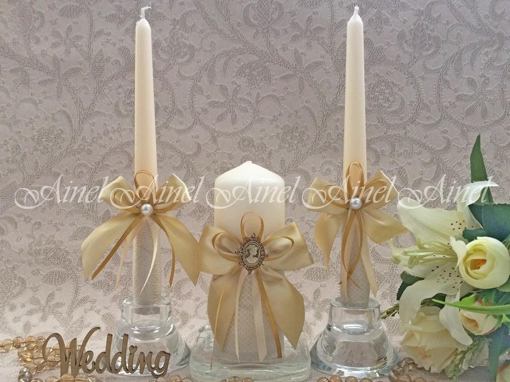 """Свадебные свечи семейный очаг """"Камея золото"""" ручной работы"""