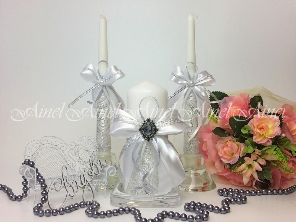 """Свадебные свечи семейный очаг """"Камея серебро"""" ручной работы"""