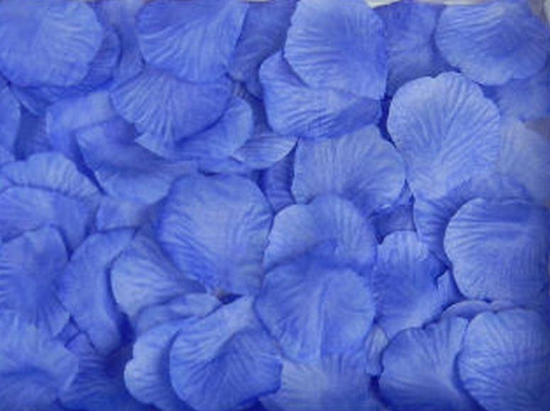 Искусственные лепестки роз из ткани Синие 300 шт