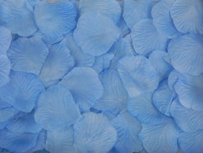 Искусственные лепестки роз из ткани Голубые 300 шт